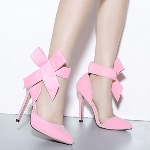 Oasap Women's Pointed Toe Ankle Bow High Heels Pumps pink
