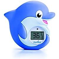 Termómetro Digital para Baño y Habitación 2 en 1 Nuvita 1006 - Alarma LED Muy Caliente/Muy Frío – Juguete de Baño Delfín Certificado (Cumple con EN71)- Marca Europea - Diseño Italiano