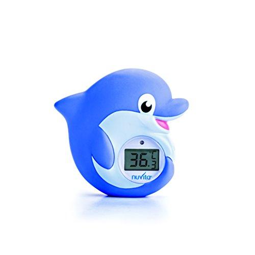 Thermomètre Bain et Chambre 2 en 1 Nuvita 1006 – LED Rouge Trop Chaud | Bleue Trop Froid - Jouet de Bain Thermometre Digital en Forme de Dauphin - Mise en Veille Auto - Norme EN71 - Marque EU