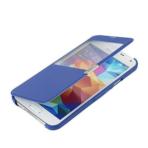 MTRONX per Cover Samsung Galaxy S5, Custodia Case Finestra Vista Ultra Foglio Flip Stile Libro Twill Spigato PU Pelle Magnetic Closure Paraurti per Samsung Galaxy S5 - Blu(MG1-BU)