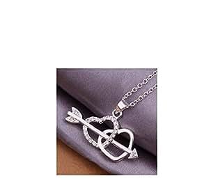 """""""line.bijoux""""Collier""""pendentif double coeur avec fleche""""plaqué argent 925"""
