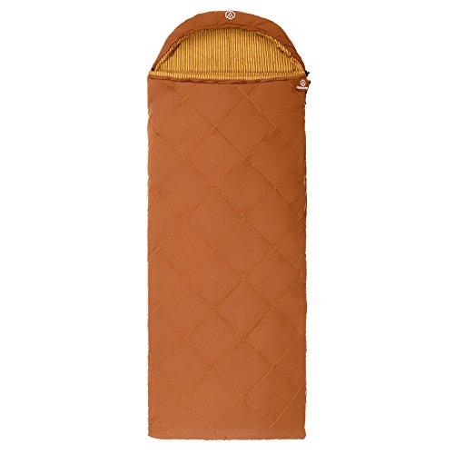 Justcamp Urbana Decken Schlafsack Baumwolle XXL (2 x Schlafsack koppelbar = Deckenschlafsack Doppel) / Deckenschlafsack mit Kissen - braun