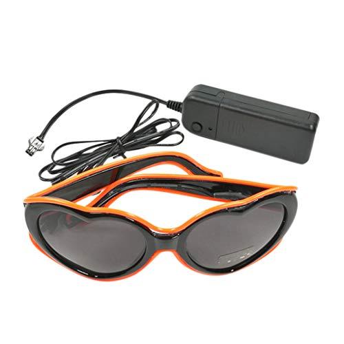 Sisit EL Wire Brille Glow LED Shutter Shade Brille Fun Konzert für Masquerade Party, Night Pub, Bar Club Rave, 70er 80er 90er Kostüm (Orange)