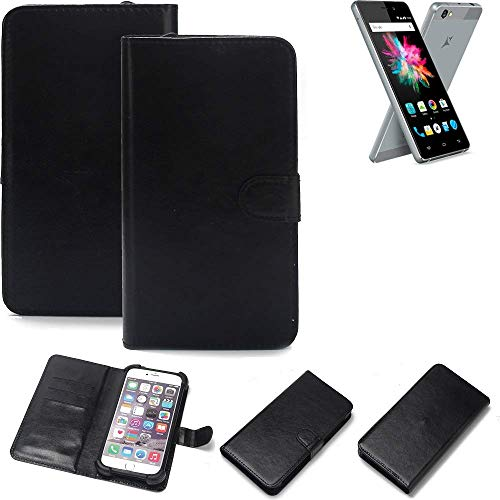 K-S-Trade Wallet Case Handyhülle für Allview X3 Soul Mini Schutz Hülle Smartphone Flip Cover Flipstyle Tasche Schutzhülle Flipcover Slim Bumper schwarz, 1x