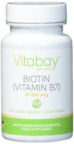 Biotin 10.000 mcg / 10 mg - 200 vegane Tabletten - Haarwuchs Ergänzungsmittel - Vitamin B7 hochdosiert für gesunde Haare, Nägel und Haut - für Veganer geeignet