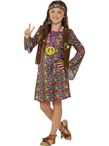 Fancy Ole - Mädchen Girl Kinder CND Hippie Woodstock Kostüm mit Flower Power Kleid, befestigter Weste, Stirnband und Medaillion, perfekt für Karneval, Fasching und Fastnacht, 140-152, Lila