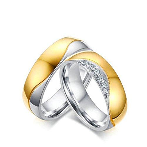 Bishilin Paarepreis Edelstahl Ringe Herren Damen Hoch Poliert Zirkonia Rund 6MM Verlobungsring Trauring Silber Gold Demen Größe 57 (18.1)&Herren Größe 60 (Name Arabische Kostüm)
