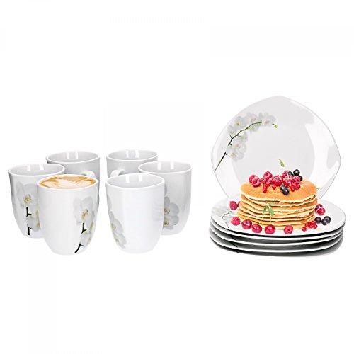 Van Well Vanda weiße Orchidee 24-tlg. Frühstücksservice, für 12 Personen, Frühstücksteller + Kaffeebecher, Blumendekor, Geschirrzubehör, edles Marken-Porzellan