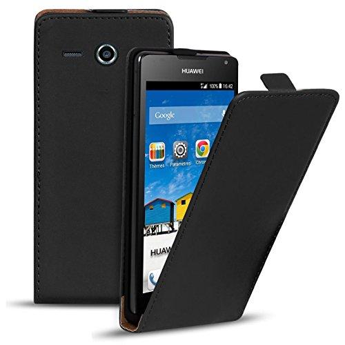 Conie Flip Hülle kompatibel mit Huawei Ascend Y530, PU Ledertasche in Schwarz klappbare Handyhülle innen weich gefüttert