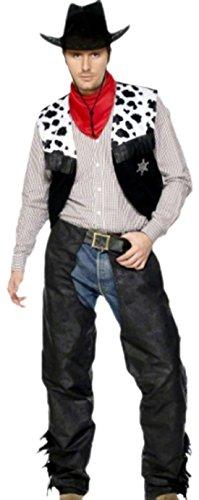 erdbeerloft - Herren Cowboy Kostüm, Karneval, Fasching, M, Schwarz-Weiß