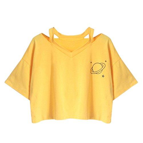 Solike Damen Sommer T-Shirt Tops Rundhals Kurzarm Herz Gedruckt Lässig Casual Frauen Mädchen Pullover Bluse Weste Tee Shirts (S, F)