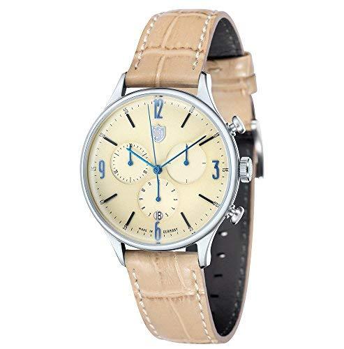 Dufa Deutsche Uhrenfabrik Unisex Chronograph Quarz Uhr mit Leder Armband DF-9002-08