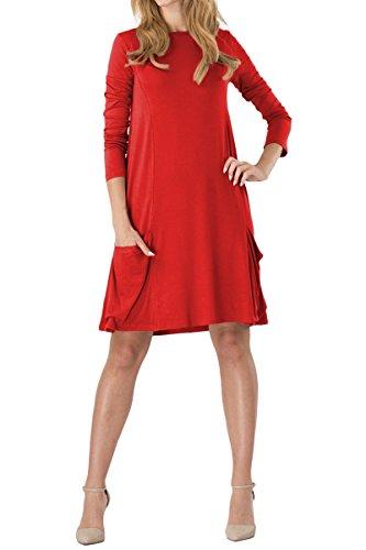 YMING Damen Kleid Langarm mit Taschen Kleid Lose T-Shirt Kleid Rundhals Casual Tunika Midi Kleid,Rot,M/DE ()