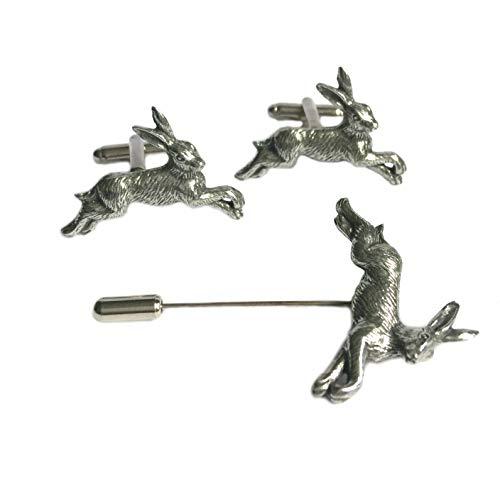 Manschettenknöpfe und Anstecknadel, Motiv: laufender Hase, handgefertigt in England aus feinem englischen Zinn, in Geschenkbox -