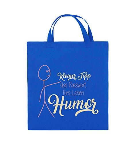 Comedy Bags - Kleiner Tipp das Passwort fürs Leben Humor - Jutebeutel - kurze Henkel - 38x42cm - Farbe: Schwarz / Weiss-Neongrün Royalblau / Rosa-Beige