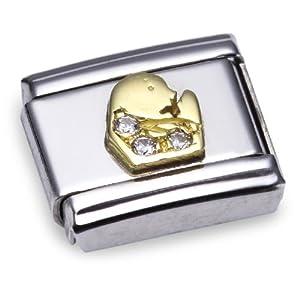 Nomination Comp. Classic STERNZ. Edelstahl, 18K-Gold und Cubic Zirc. (Jungfrau) 030302