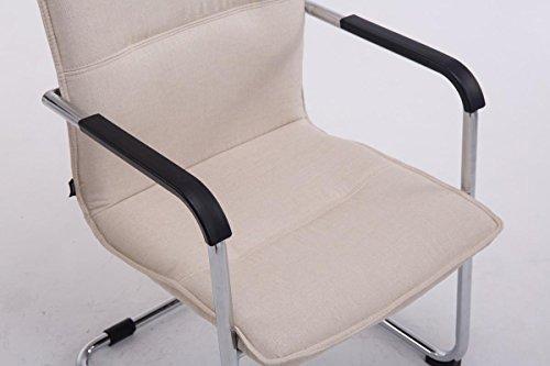 CLP Freischwinger-Stuhl mit Armlehne SEATTLE Stoff, Besucherstuhl, Konferenzstuhl gepolstert, Metall Creme - 5