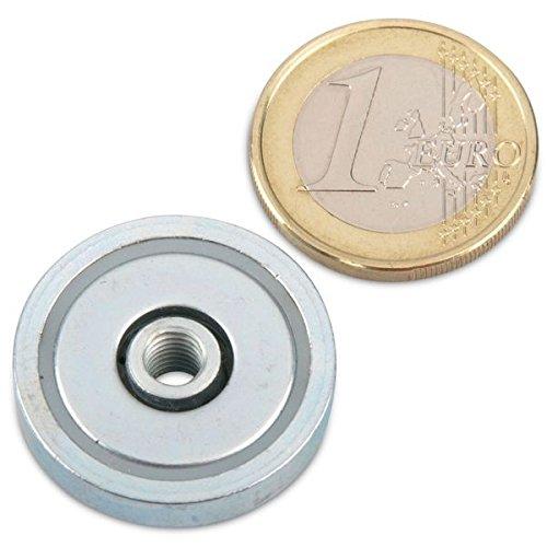 Neodym Flachgreifer Ø 25,0 x 7,0 mm, Innengewinde M5, 14 kg, Topfmagnet verzinkter Stahltopf, Magnet zum Anschrauben, Werkstattmagnet Industriemagnet