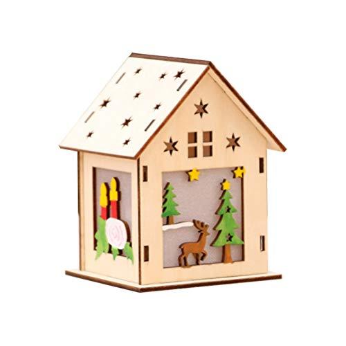 Vosarea LED Holzhäuser Weihnachtshäuser Holz Weihnachtsbaum Anhänger Weihnachtsdeko Weihnachtsdorf Häuser (groß Rentier)