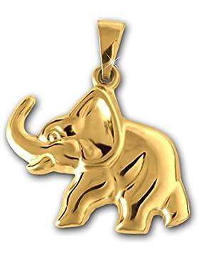CLEVER SCHMUCK Goldener Anhänger Elefant 21 x 16 mm beidseitig plastisch und hochglänzend poliert 333 GOLD 8 KARAT