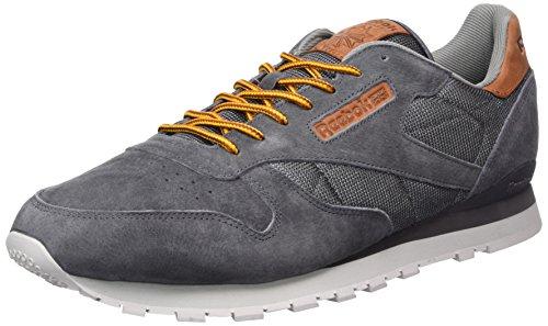 Reebok Herren Classic Leather Ol Sneakers, Grau (Ash Grey / Steel / Hrzblue / Semislrgold / Ginger), 39 EU