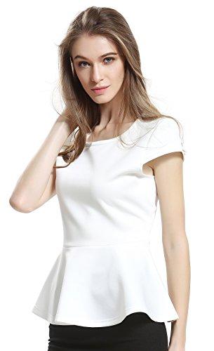 Escalier Femmes Solid Crew Neck manches courtes en coton Peplum Tops T-shirt Blanc