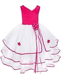 TiaoBug Filles Enfant Princesse Sans Manches Classique Cérémonie Pageant Mariage Soirée Noël Anniversaire Robe 4-14 ans