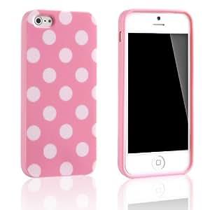 Tinxi Silikon Schutzhülle für Apple iPhone 5S iPhone 5 Hülle Silicon Rückschale Gel Skin Cover Case Etui rosa mit weiß Punkt Polka Dots