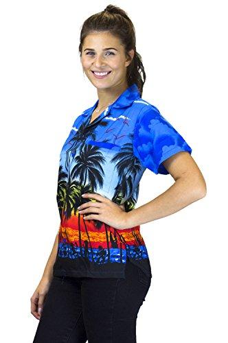 V.H.O. Funky Hawaiibluse Hawaiihemd   Damen   Kurzarm   Front-Tasche   Hawaii-Print   Strand Party Beach Palmen Blau