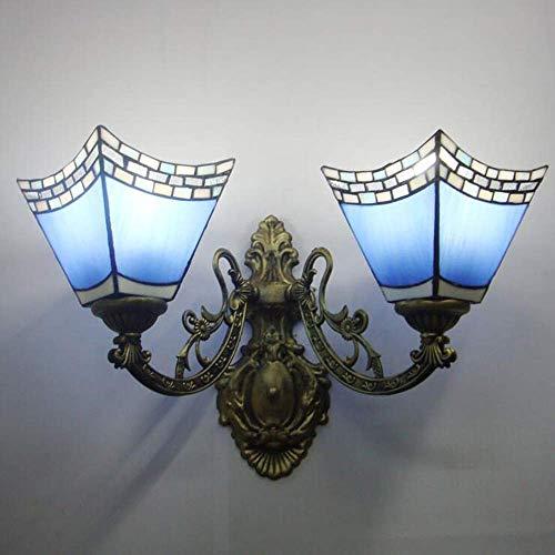 KISlink Retro Classic Wandleuchte Blau Glas Dekorative Lampe Nachttischlampe Geeignet für Wohnzimmer Schlafzimmer Flur [Energie Stufe A] - Blau Dekorative Glas