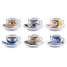Zeller 26510 Set Tazzine da caffè Magic Eyes, Porcellana, Multicolore, 0.1x6x4.7 cm, 12 unità