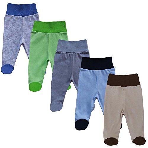 MEA BABY Babyhose mit Fuß Stramplerhose Jungen Baby Hose Strampelhose Mädchen im 5er Pack (68, Jungen)