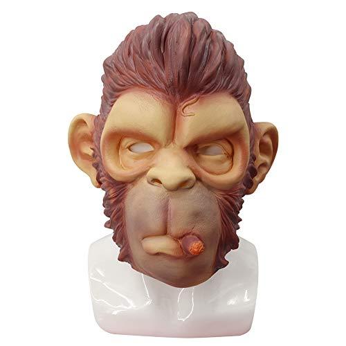 WEISY Smoking Monkey Latex Mask, Neuheit Halloween Kostüm Party Latex Tierkopf Maske für Erwachsene und - Nicht Beängstigend Halloween Kostüm