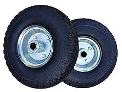 2 x Frosal PU Rad Bollerwagen Sackkarre   Ersatzrad   Reifen   260 mm Pannensicher, 3.00-4   20 mm Achse   Sackkarrenrad Stahlfelge silber