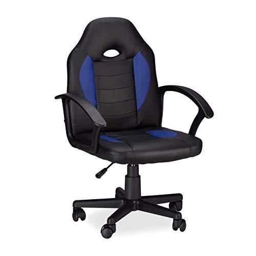 Relaxdays Gaming Stuhl XR7, 360° Drehstuhl für Gamer, höhenverstellbarer Bürostuhl bis 120 kg, Racer Optik, schwarz-blau -