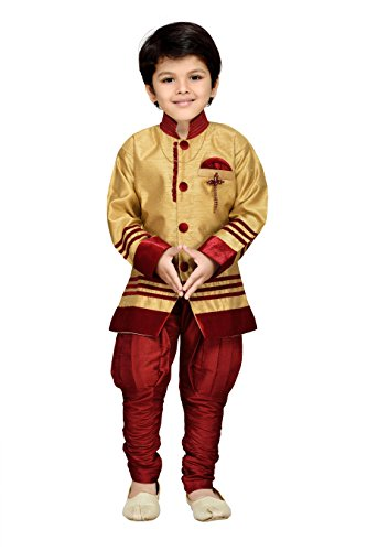 AJ Dezines Kids Sherwani Set for Boys (629_MAROON_9)