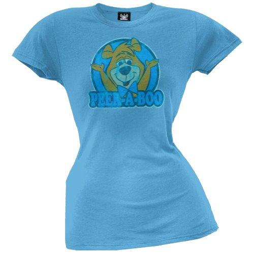 Old Glory Yogi Bear & # 038; Boo Boo–Damen Peek A Boo Junioren T-Shirt, Blau, Hb003125 SM (Peek-a-boo Metall)