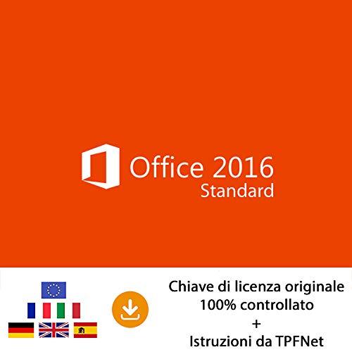 MS Office 2016 Standard 32 bit e 64 bit - Chiave di Licenza Originale per Posta e E-Mail + Guida di TPFNet - Spedizione max. 60min
