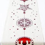Yaoaomon Christmas Cotton Linen Tablecloth Christmas Decorative Table Runners Covers Star Snowflak