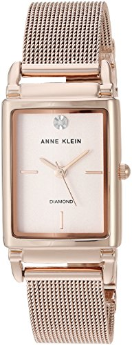 Anne Klein Women's AK/2970RGRG Diamond-Accented Rose Gold-Tone Mesh Bracelet Watch