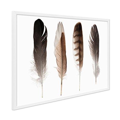 PHOTOLINI Design-Poster mit Bilderrahmen Weiss 'Federn' 30x40 cm Foto Fashion Abstrakt