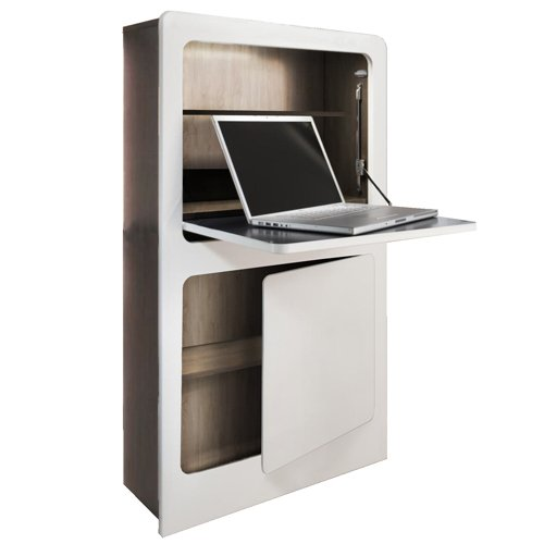 PHOENIX 806203WEE Milano Workstation in weiß / Eiche Sägerau im coolen Design