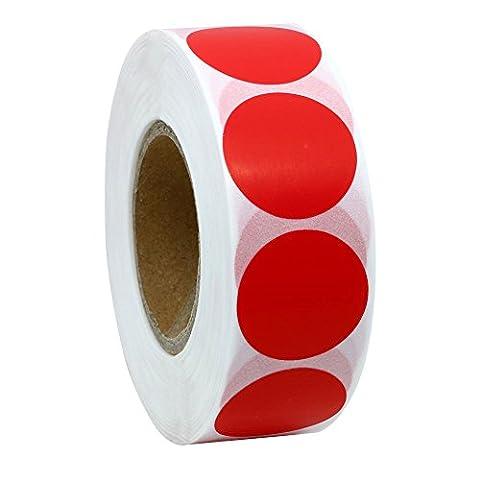 hybsk CODE COULEUR Étiquettes à pois 25mm rond Naturel papier autocollants étiquette adhésive 1000par rouleau rouge