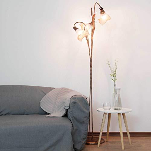 Florale Stehlampe (in Braun, Weiß, Höhe 156cm, 3-flammig, Blütenkelch, Blütendeko) Innenlampe Stehleuchte Standleuchte Standlampe