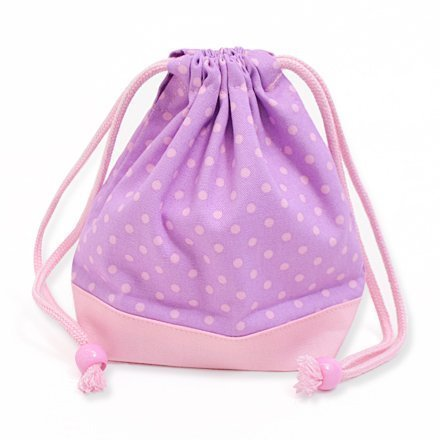 x Ox pink made in Japan N3566600 (pink dots on purple ground) drawstring Gokigen lunch (small size) with gusset bag polka dot cup (japan import)