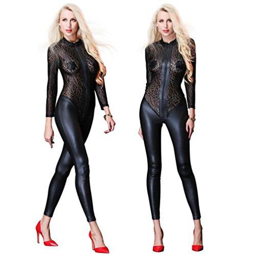 SHANGXIAN Sexy Damen Latex Catsuit Zentai Lackleder Mesh-Patchwork Voller Bodystocking Reißverschluss vorne Schritt öffnen Transparent Erotisch Dessous,XXL