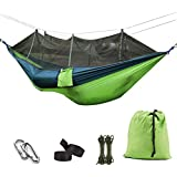 Eocean Camping Hammock with Mosquito Net, Lightweight Nylon Portable Hammock with Tree Straps, Easy Assembly Parachute Hammock for Camping, Survival, Beach, Yard and More
