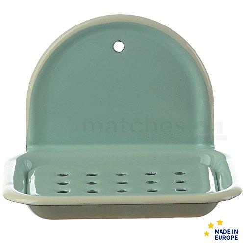 matches21 Email Seifenschale zum Hängen / Wandmontage Retro Emaille Seifenunterlage grün 13 x 10 x 9 cm