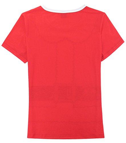 Funny World Damen Weihnachtsmann und Elfe Kostüm T-Shirts Rot