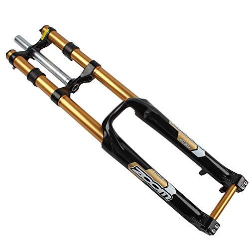 LDG MTB Federgabel, 26Zoll Doppelte Schulter DH Vordergabel Scheibenbremsen Mountainbike Downhill Vordergabel Mit Dämpfung (Color : White, Size : 26inch) -